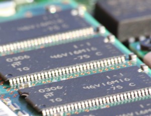 Micron DRAM memory chips from a laptop computer
