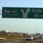 Overhead guide sign on ON 403 East to 407ETR and QEW